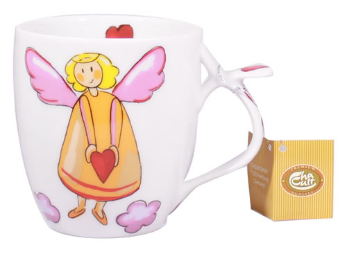 Porcelain Tea Mug Guardian Angel With Orange Fairy Hearts