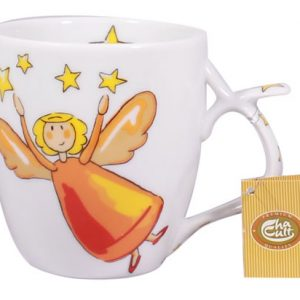 Porcelain Tea Mug with Guardian Angel Stars Design